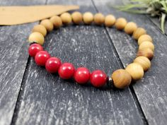 Red Bamboo Coral and Cedar Wood Bracelet with Hematite Spacers, Red and Light Brown Wood Coral and Gemstone Unisex Beaded Stretch Bracelet by MayaMadeThis on Etsy Stretch Bracelets, Beaded Bracelets, Hematite Jewelry, Wood Bracelet, Coral Jewelry, Cedar Wood, Circle Earrings, Stainless Steel Chain, Brown Wood