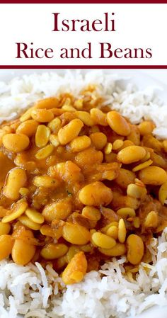 Israeli rice and beans is an easy and healthy recipe. It is perfect as a side dish or a vegan main dish. Side Dish Recipes, Veggie Recipes, Vegetarian Recipes, Dinner Recipes, Healthy Recipes, Vegan Bean Recipes, Beans Recipes, Vegetarian Lifestyle, Potato Recipes