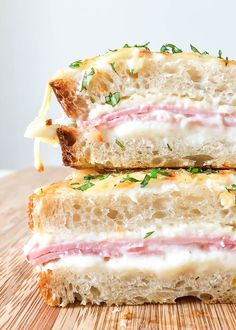 Learn how to make the traditional Croque-monsieur, an iconic French sandwich, with French Chef, Vincent Guiheneuf. This creamy, decadent ham & gruyere sandwich originated in Paris cafés as a snack but is also ideal served for lunch with a side salad. French Sandwich, French Dishes, French Desserts, French Snacks, French Cooking Recipes, Chef Recipes, Comfort Food, International Recipes, Vegetarian Recipes