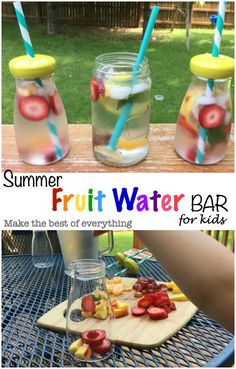 DIY Fruit water bar for kids.  Keep the kiddos hydrated in a fun and healthy way. #BBBestsummerever.