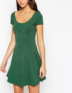 Enlarge New Look Button Through Cap Sleeve Skater Dress from ASOS