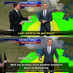 Throwback to when Tom Hiddleston reported the weather as Loki....
