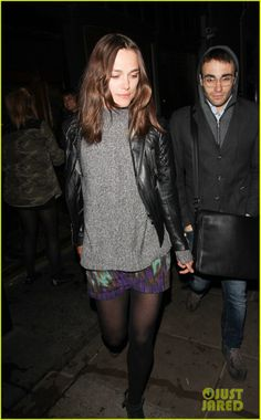 Keira Knightley wearing Balenciaga Quilted Motorcycle Jacket Suno Tiered Skirt