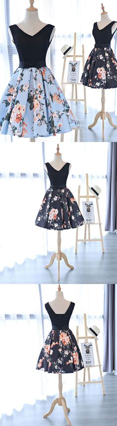 Cute v neck floral pattern short prom dress, homecoming dress
