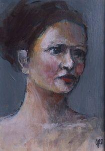 Image of Small Painted Portrait  - Eva