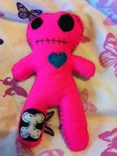 Vampire Candy  Plush Felt Hot Pink Zombie Doll by VampireCandy, $9.00