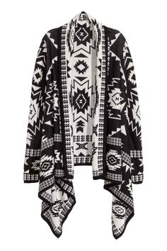 Cardigan in maglia jacquard Black Cardigan, Knit Cardigan, Open Cardigan, H&m Fashion, Autumn Fashion, Cardigan En Maille, Black Knit, Mode Style, Black Tops