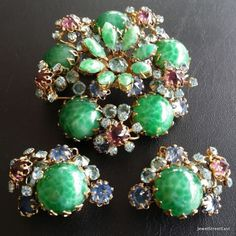 Schreiner Vintage Set Brooch Pin Earring Peking Glass Rhinestone Quality BN 103 | eBay