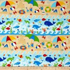 Fun At The Beach Sand/Ocean/Fish Multi from @fabricdotcom  From exclusively quilters, this quilting cotton print is perfect for quilting, apparel, and home decor accents. Colors include brown, red, blue, orange, green, yellow, black, and white.