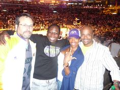 Enjoying a Laker game with friends, S.O.Terik owners Scott Sigman & Antoine Richards along with Actor/Director Regina King. 2012
