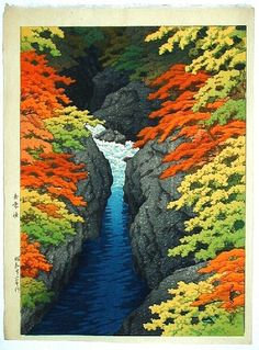 "Ukiyoe-Gallery.com Kawase Hasui's ""Azuma Gorge"""