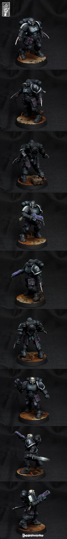 Black Dragons Reivers - posted in + HALL OF HONOUR +: Hope you like it.   Lore:http://wh40k.lexican...i/Black_Dragons   Pics:     How I paint lenses:   Colors used: Scala 75 Violet (dark purple) Andrea Royal Purple (light purple)Scala 75 F&G Hykey Yellow (light beige) black&white   pic1: lens ready to paint. pic2: dark purple pic3: mix of dark and light purple pic4: mix of light purple and little light beige pic5: white dots on both ends of the lens...