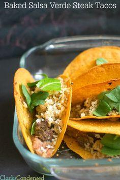 Salsa verde baked steak tacos