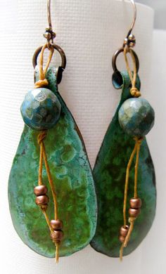 Boho Hand Forged Copper Patina Earrings by LindysDesigns on Etsy, $25.00