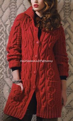 cd9df4e5216ead 549 Ladies Long Cable Jacket  Coat Vintage by HeirloomKnitPatterns