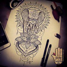 mandala tattoo idea, elephant tattoo design idea, lotus flower tattoo design, lace dotwork tattoo drawing