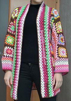 Granny Squares Cardigan - free crochet pattern at Beautiful Crochet Stuff.