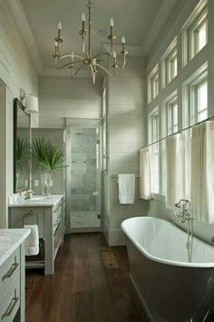 Bathroom - wood floor - clawfoot tub