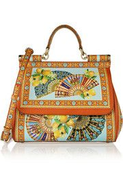 Dolce & GabbanaSicily printed textured-leather tote