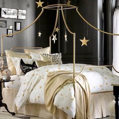 love this gold bedroom!