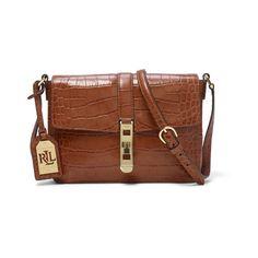 Ralph Lauren Lauren Darwin Leather Cross-Body Bag ($170) ❤ liked on Polyvore featuring bags, handbags, shoulder bags, leather crossbody purses, leather cross body handbags, crossbody purse, brown crossbody and leather handbags