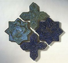 Star and cross tiles The Legacy of Genghis Khan: Courtly Art and Culture in Western Asia, 1256-1353 | Origin: Iran, probably Takht-i Sulaiman | Period: c. 1270-80 | Collection: Shinji Shumeikai Acquisition Fund (AC1996.115.1-.5) | Type: Ceramic; Architectural element, Fritware, overglaze painted with colors and gold (lajvardina), Height: 9 3/4 in. (24.8 cm)