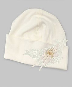 Another great find on #zulily! Ivory Lace & Floral Beanie by Truffles Ruffles #zulilyfinds