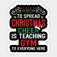 Gym Teacher Funny Christmas Gift Design Sticker