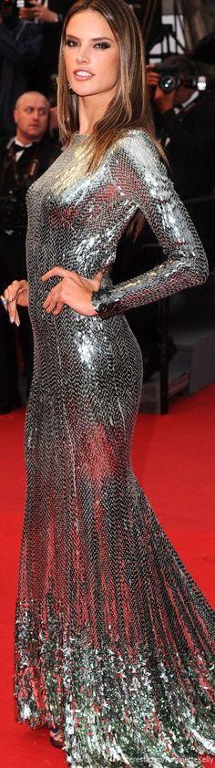 #metallic #dress #AlessandraAmbrosio                                                                                                                                                                                 More