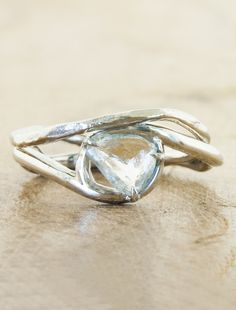 Organic - nature-inspired engagement rings with rough diamonds by Ken & Dana Design in NYC