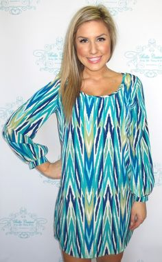 Blue and Teal Chevron Tunic/Dress. with opaque tights-more modest!