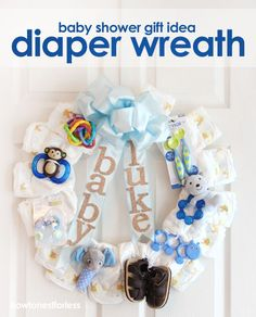 DIY Baby Diaper Wreath - Great for the shower and then for her to put on the door at the hospital! Plus the wreath is made of super useful things! I love this idea!