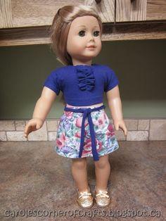 Carole's Corner of Crafts: American Girl Doll A-Line Skirt, Ruffled T-shirt, Knit Panties Tutorial AG010