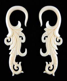 (bin2-3)    SOLD AS PAIR      PAIR of Organic Tribal Floral Carved Bone Ear Plugs Gauges