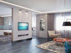 Studio Apartment Design, Small Apartment Interior, Living Room Goals, Living Room Red, Living Room Kitchen Partition, Brick Wallpaper Bedroom, Home Decor Catalogs, Home Design Plans, Cute Home Decor