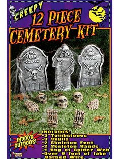 Creepy 12-piece Cemetery Kit includes 3 tombstones, 3 skulls, 2 skeleton feet, 2 skeleton hands, 1 bag of spider web and over 9 feet of fake barbed wire. For more than 30 years, Forum Novelties has been a leader in the costume industry, as well as the joke, trick, magic and novelty gift item business. Forum offers over 8,000 items to choose from, ranging from baby costumes, to adult and plus-size costumes, to pet costumes. Look to Forum Novelties for all of your Halloween, luau, Christmas…