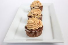 Salted Caramel Frosting (that is not too sweet, probably you will want to add more sugar to it!), used to top chocolate cupcakes, adapted from Magnolia Bakery Cookbook.