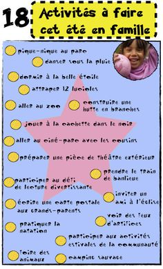 List of activities to do this summer with the family. Most of… – Holiday and camping ideas List Of Activities, Summer Activities, French Grammar, Free Frames, French Resources, French Class, French Words, Summer Bucket Lists, French Language