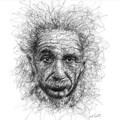 """Amazing portrait of """"Albert Einstein"""" by artist Erick Centeno (@erick.centeno)"""