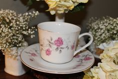 Pink rose cup and saucer set, for rent from southernvintagegeorgia.com