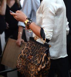 Dolce et Gabbana Dolce & Gabbana Miss Sicily Leopard Print Pony Fur Top Hand Bag.