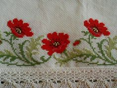 """""""Poppies in the Cross Stitch Technique"""" Embroidery Applique, Cross Stitch Embroidery, Machine Embroidery Designs, Red Cottage, Blue Garden, Bargello, Red Poppies, Needle And Thread, Pink And Green"""