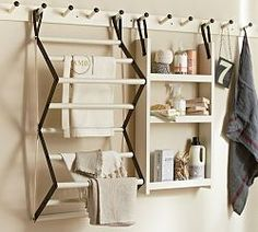 Laundry Accessories & Vintage Laundry Room Decor | Pottery Barn I LIKE THE AIR DRYING RACK FOR CLOTHES