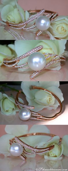 PEARLFECION / Glamorous Diamond (1,76 ct. G-VS) Bangle with a white 15mm Southsea Pearl in Rosegold