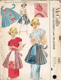 50s Half Apron Pattern McCalls 1641 Short Aprons for Mother and Daughter with Embroidery Transfers. Vintage 1951 Sewing Pattern Vintage Apron Pattern.