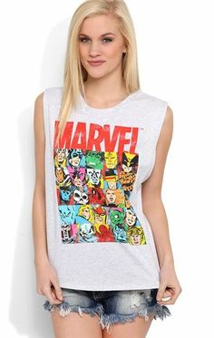 Deb Shops #Marvel #Comics Tunic Tank Top with High Low Hem $12.00