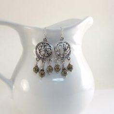 Olive Bronze Earrings Chandelier Style Silver