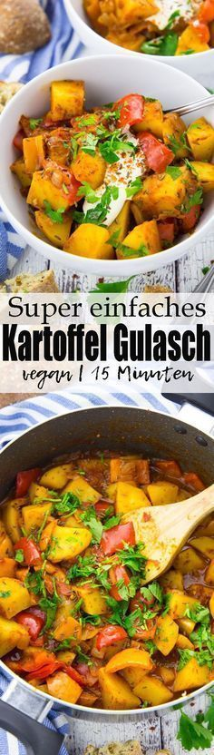Auch Gulasch geht super ohne Fleisch! Dieses Kartoffel Gulasch ist richtig schnell gemacht und total lecker! Vegetarische Rezepte und auch vegane Rezepte können so einfach sein!