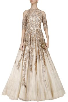 Ivory and Gold Sequins Embroidered Cold Shoulder Gown