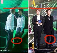 Sehun and Chanyeol bend their legs so their height will match with Luhan and Baekhyun, so sweet -luludeary- Too sweet
